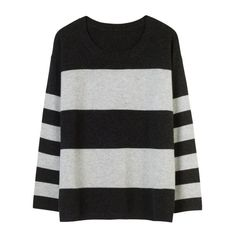 Cashmere Bea Jumper (1,475 CNY) ❤ liked on Polyvore featuring tops, sweaters, jumpers, long sleeves, shirts, stripe shirt, long-sleeve shirt, grey sweaters, grey shirt and stripe sweater