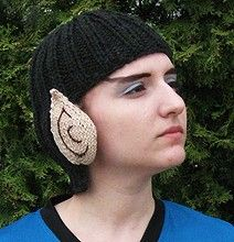 Combine the Pink Party Knitted Wig(in Black) and the Crocheted Vulcan Ears and Voila You Have a Spock Cap.