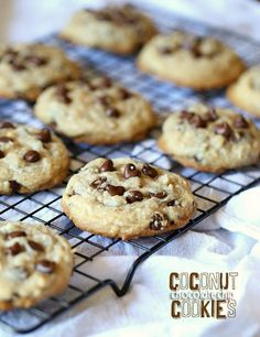 Coconut Chocolate Chip Cookies...delicious chocolate chip cookies made with coconut oil and sweetened flaked coconut! SO soft and delicious!!
