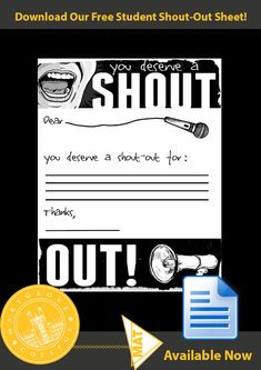 Student Shout-Out Sheet