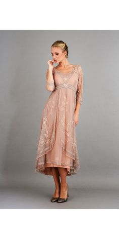 Downton Abbey Tea Party Gown in Quartz by Nataya. Beautiful vintage-inspired dresses. Fast worldwide delivery. Click or call 323-592-9172 for more info.