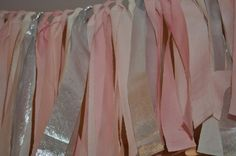 """Blush pink and silver hand dyed Fabric """"rag"""" garland - Wedding & Party decor, photo backdrop"""