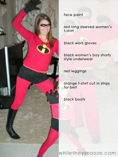 While They Snooze: How to Make The Incredibles Halloween Costumes + Costume Contest The Incredibles Halloween Costume, Group Halloween Costumes, Halloween Party Costumes, Skeleton Costumes, Halloween Halloween, Halloween Makeup, Disney Costume Makeup, Run Disney Costumes, Couple Costumes
