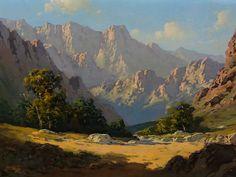 "T Scotty (Titta Fasciotti) ""Swartberg Scenery"" Landscape Art, Landscape Paintings, Eyvind Earle, Cool Landscapes, Old Master, Arrow Keys, Close Image, Art Oil, Oil Paintings"