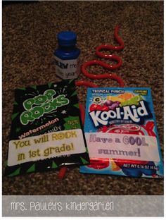 From Amanda Pauley:  End of the year gift ideas- bubbles (You blew me away this year!); Kool Aid (Have a Kool Summer!); Pop Rocks (You will rock in ___ grade!) put into a  cello gift bag.  Freebie labels.