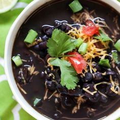 7-Ingredient Crock-Pot Black Bean Soup Recipe Soups with dried black beans, coconut oil, olive oil, yellow onion, red bell pepper, garlic cloves, salt, chopped cilantro, water