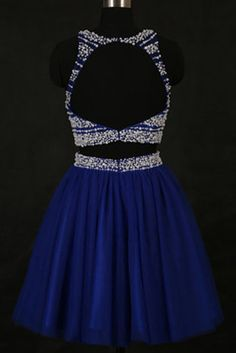 2018 evening gowns - Navy blue chiffon beading round neck backless A-line short dress,evening dresses