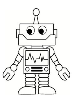 Art Drawings For Kids, Drawing For Kids, Easy Drawings, Arte Robot, Robot Art, Robots For Kids, Art For Kids, Colouring Pages, Coloring Books