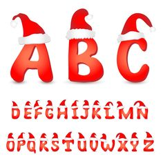 Red Christmas Hat Alphabet Font - http://www.welovesolo.com/red-christmas-hat-alphabet-font/