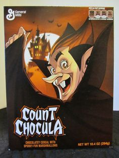 Count Chocula Cereal. (2014 Package) Food Hunter, Food Packaging, Counting, Cereal Boxes, Museum, Halloween, Fun, Halloween Labels, Museums