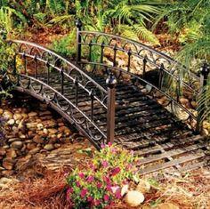 New 6 Ft. OUTDOOR BLACK Metal Steel Garden Lawn Landscape decorative Pond Bridge