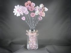 Items similar to Sparkle Milk Glass Shaker Button Bouquet on Etsy Crafts To Make, Crafts For Kids, Arts And Crafts, Diy Crafts, Button Bouquet, Button Flowers, Button Art, Button Crafts, Flower Crafts