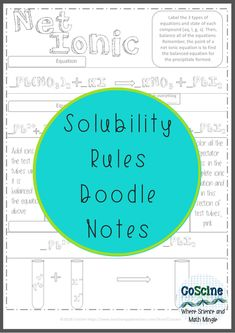 Do you need a fun chemistry activity for solubility rules? How about a step by step printable worksheet to guide your chemistry students. Your high school students will love this, but it is simple enough for middle school or homeschool. Even includes a page for net ionic equations. #chemistry #doodlenotes #Chemistryactivity Chemistry Worksheets, Ap Chemistry, High School Chemistry, Chemistry Teacher, Middle School Science, Chemistry Journals, Class Journals, Science Notebooks, Science Classroom