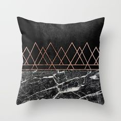 Black with geometric rose gold and marble cushion. Throw Pillow made from 100% spun polyester poplin fabric, a stylish statement that will liven up any room. Individually cut and sewn by hand, each pillow features a double-sided print and is finished with a concealed zipper for ease of care.  Sold with or without faux down pillow insert.
