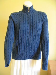 AMERICAN LIVING (R. Lauren) Sweater Blue Cable Knit  Full Zip Cotton Womens  XL #AmericanLiving #FullZip