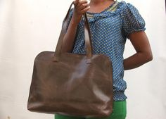 Leather hand bag women laptop bag Leather bag Brown by abizema