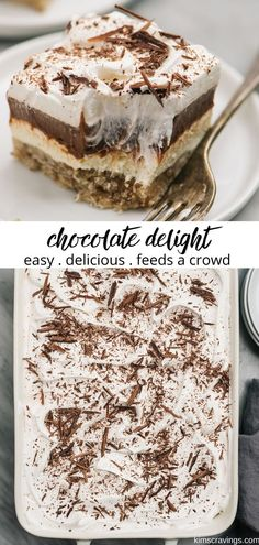 Chocolate Delight is a delicious layered pudding dessert. Chocolate Delight is a delicious layered pudding dessert. Chocolate Delight is a simple layered pudding dessert that looks impressive and tastes amazi. Chocolate Layer Dessert, Easy Chocolate Desserts, Layered Desserts, Chocolate Delight, Desserts For A Crowd, Fun Desserts, Chocolate Lovers, Best Desserts To Make, Easy Desserts To Bake