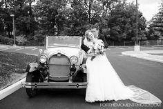 Bride and Groom St Louis Wedding vintage style with Model A Getaway Car by For The Moment Photography #forthemomentphotography #vitangewedding #getawaycar