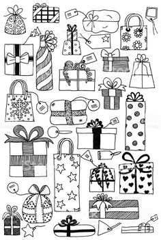 Hand drawn doodles of gift wrapped presents and gift tags. - Hand drawn doodles of gift wrapped presents and gift tags… Doodle gifts royalty-free doodle gifts stock vector art & more images of birthday Christmas Doodles, Christmas Art, Xmas, Christmas Icons, Vector Christmas, Christmas Vacation, Doodle Lettering, Hand Lettering, Doodle Drawings