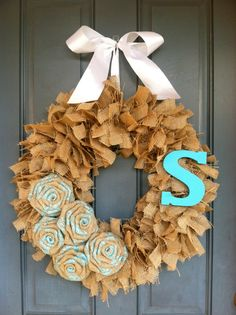 Burlap Wreath with Lace/Burlap Roses and Monogram, Rustic Wreath, Wedding Wreath, Lace Wreath