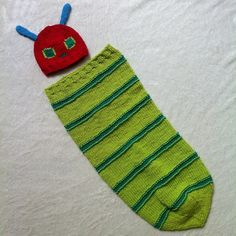 Hungry Caterpillar knitted sleep sack by Ayla Moreta
