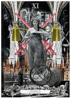 XI. Justice - Arthur Taussig Collage Tarot