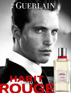 Affiche pub Parfum homme Guerlain Habit Rouge