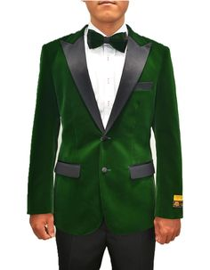 Everyone's got a little Hugh in them. So here's your change to let him out. This smoking jacket comes in a gorgeous hunter green velvet fabric, with a full black satin peak lapel. It's a modern fit, with side vents, and black satin trim on the pockets.  #GreenJacket #WeddingJacket #PromTux #WeddingTux #Tux #Wedding #Prom #DinnerJacket #Jacket Mens Dinner Jacket, Velvet Dinner Jacket, Green Velvet Fabric, Wedding Tux, Wedding Jacket, Smoking Jacket, Suit Jacket, Green Jacket, Hunter Green