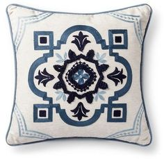 "Threshold Blue Icon Medallion Square Throw Pillow (18""x18"")"
