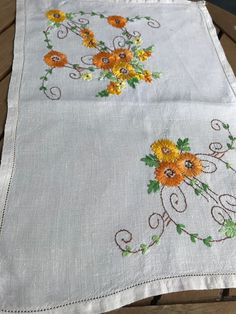 Excited to share this item from my shop: Hand Embroidered traycloth Hand Embroidery Designs, Vintage Embroidery, Embroidery Patterns, Hardanger Embroidery, Cross Stitch Embroidery, Designer Bed Sheets, Dress Design Sketches, Cutwork, Embroidered Flowers