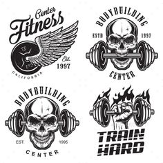 Buy Set of Bodybuilding Emblems by imogi on GraphicRiver. Set of bodybuilding emblems with skull wings and sport equipment in black colour. Logos Gym, Gym Logo, Tatto Skull, Skull Art, Fitness Tattoos, Fitness Logo, Bodybuilding Logo, Bodybuilding Equipment, Arte Zombie