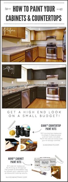DIY Kitchen Makeover on a Budget. Before and After. Giani Granite Countertop Paint kits transform existing counters to the look of natural stone and Nuvo Cabinet Paint is a one-day makeover process. http://www.gianigranite.com
