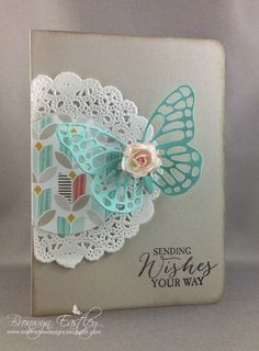 Stampin' Up! ... handmade bithday card from addINKtive designs: Butterfly Basics Doily Card ... kraft base ... lacy die cut butterfly in aqua with a pink dimensional rose on top ... off the edge placement of doily ... sweet card ...
