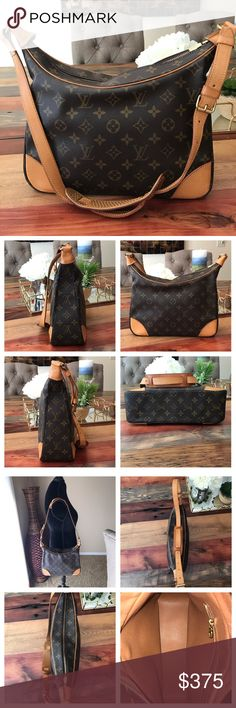 """Authentic Louis Vuitton Boulogne 30 100% Authentic Louis Vuitton Boulogne 30.   Monogram canvas has no scratches or tears.  Corners in good shape see pic.  Piping is good.  Strap has little wear if any and no cracks and stitching is good.  Zipper works properly. Hardware has minor tarnishing.   Inside is clean.  Pocket is peeling and sticky.  This is a one in a million vintage bag.  This will sell fast. W11.8xH11.0xD3.54"""". I do not trade. Louis Vuitton Bags Shoulder Bags"""