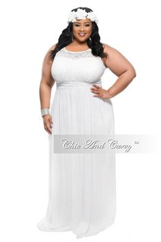 75ae61a324 Plus Size Sleeveless Long Dress in White – Chic And Curvy White Bridesmaid  Dresses Long
