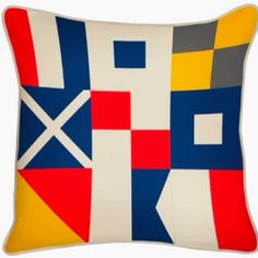 Flags Reversible Pillow design by Thomas Paul Nautical Flags, Nautical Pillows, Modern Throw Pillows, Designer Throw Pillows, Decorative Pillows, Modern Home Furniture, Cottage Furniture, Casual Decor, Outdoor Flags