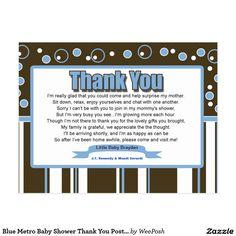 Blue Metro Baby Shower Thank You Postcard
