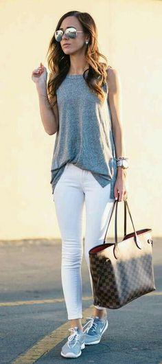 White t-shirt gray pants walking shoes
