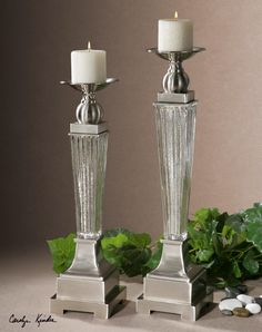 Ribbed mercury glass with brushed aluminum accents. Distressed beige candles included. Sizes: Sm-5x20x5, Lg-5x22x5