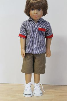 Checked Shirt / Tan Shorts Separates Doll Clothes by Debsterkay
