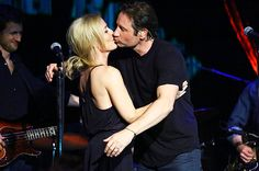 Gillian Anderson and David Duchovny attend David Duchovny in concert at The Cutting Room on May 12, 2015 in New York City.