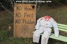 Easy Halloween decoration for a hayride. See more Halloween kids games and…