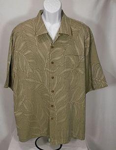3bb38a9f Jamaica Jaxx Green Hawaiian Shirt Silk w/ Palm Leaf Pattern SZ XXL Wood  Buttons #