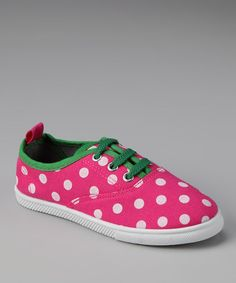 Take a look at this Fuchsia & White Polka Dot Sneaker by Cool Kicks: Kids' Shoes on #zulily today!