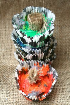 Make your own fire starters using wood, broken crayons and lint!