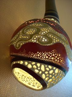 17 Best ideas about Gourd Lamp Decorative Gourds, Vases, Gourd Lamp, Organic Art, Painted Gourds, Art Carved, Popular Art, Unique Lamps, Artisanal