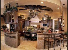 cocina grande de forma redonda