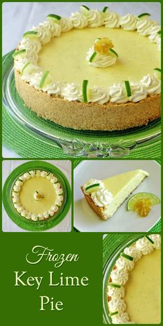 Frozen Key Lime Pie - A make ahead, stress reducing Thanksgiving pie alternative.The luscious, ice-cream like texture of this frozen key lime pie is what sets it apart from other recipes. You won't need a chainsaw to cut into this one! Key Lime Desserts, Frozen Desserts, Frozen Treats, Just Desserts, Delicious Desserts, Yummy Food, Baking Desserts, Rock Recipes, Pie Recipes