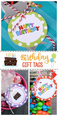 Free Printable Birthday Gift Tags-All you need to do is print these birthday tags and keep them on hand for gifts you need to give. 18 designs to choose from. #birthday #birthdaygifts #giftideas