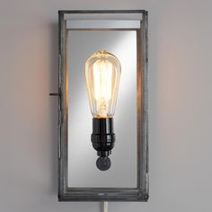 Crafted of glass panes set in an antique zinc frame, our exclusive wall sconce is reminiscent of vintage candle box lanterns. A clever mirror backing reflects light beautifully, making this easy-to-install sconce a great lighting solution for nightstands or reading nooks in addition to a wall decor highlight.